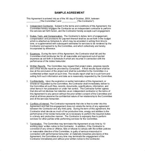 18 contract agreement templates free sle exle