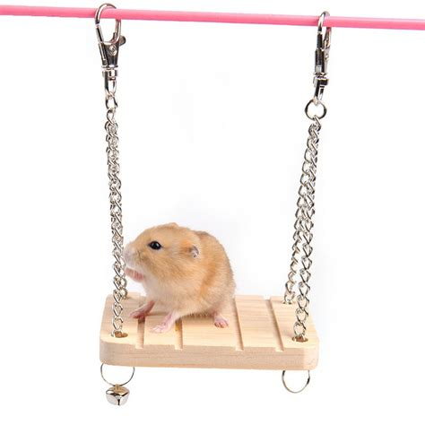 hamster swing natural wood hamster chinchilla hanging swing bed house