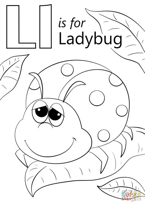 ladybug coloring pages for preschoolers letter l is for ladybug coloring page free printable