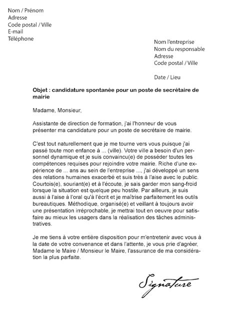 Exemple Lettre De Motivation En Mairie Lettre De Motivation Mairie Secr 233 Taire Mod 232 Le De Lettre