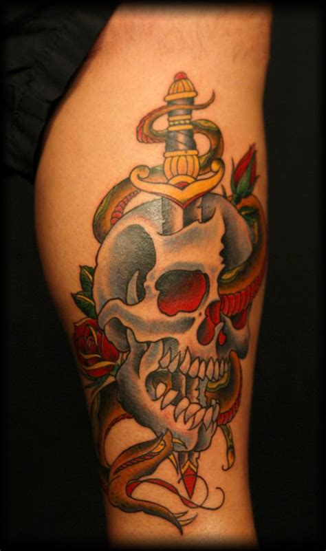 american traditional skull tattoos traditional american traditional tattoos and dagger