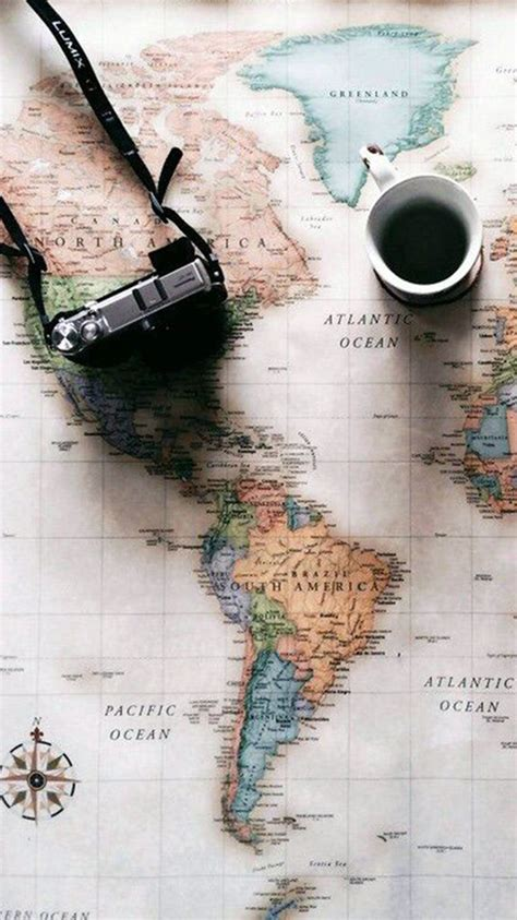 Journey Coffee world map travel plans coffee iphone 6 wallpaper
