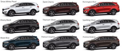 kia sedona 2015 colors 2016 kia sorento color options