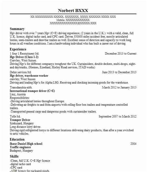 cover letter for a hgv driver hgv class 2 driver cv exle david cover