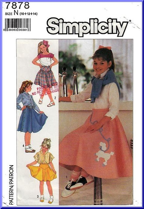 simplicity sewing pattern  sz   girls vintage