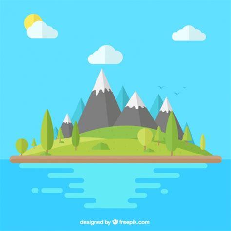 background flat design mountainous landscape background in flat design vector