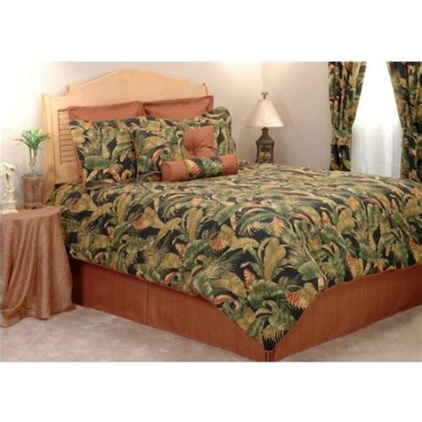 tropical comforters kokomo peach coral black green tropical leaf bedding