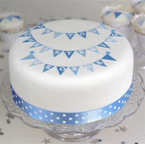 boys christening cake decorating kit with bunting by