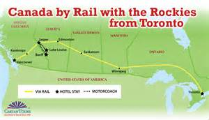 canada rail map canada by rail with the rockies from toronto 12 days