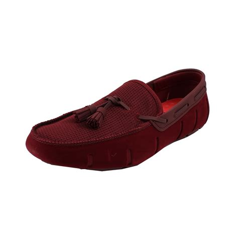 burgundy loafers for swims tassel velvet loafer in for burgundy lyst