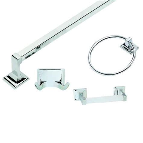 polished chrome bathroom accessories design house millbridge 4 piece bathroom accessory kit in