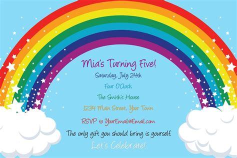 rainbow invitation card template rainbow and birthday invitation digital file