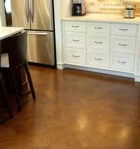 actual website herringbone cork floor kitchen remodel