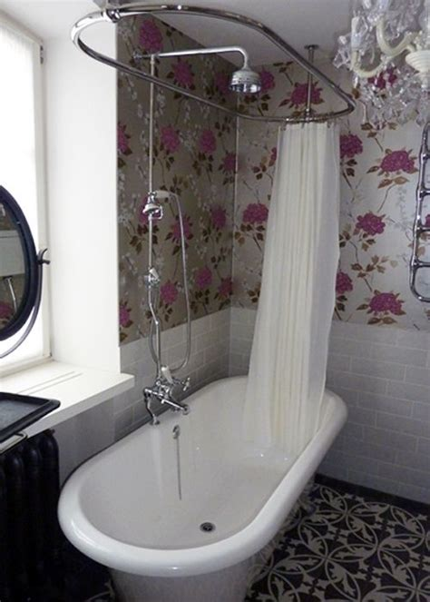 shower curtain rails for freestanding baths roll top bath shower bathroom flat pinterest art