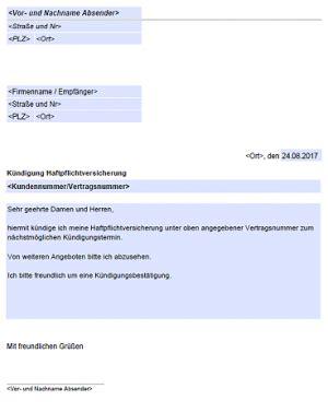 Haftpflichtversicherung kündigen   kostenlose vordrucke.de