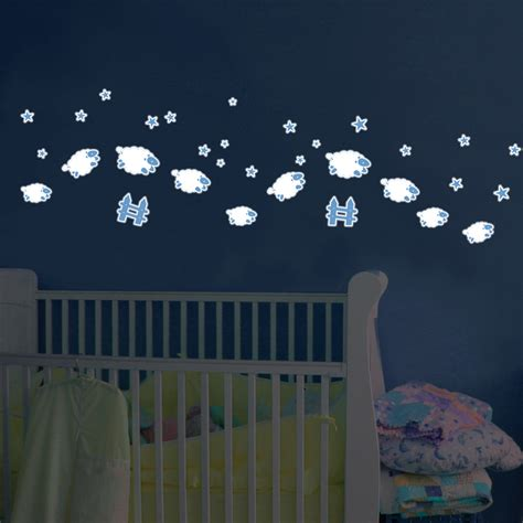 glow in the dark wall mural glow in the dark sheep wall decals rosenberryrooms com