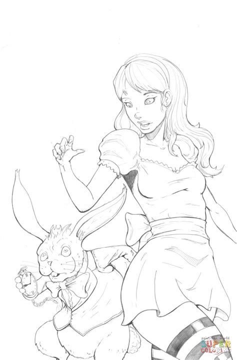 Alice In Wonderland Pin Up Style Coloring Page Free Printable Pin Up Coloring Pages Free