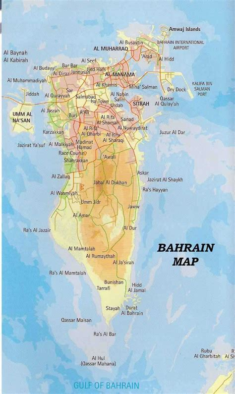 printable road map of bahrain road and physical map of bahrain bahrain road and