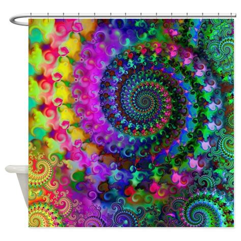 psychedelic shower curtain psychedelic rainbow fractal pattern shower curtain by