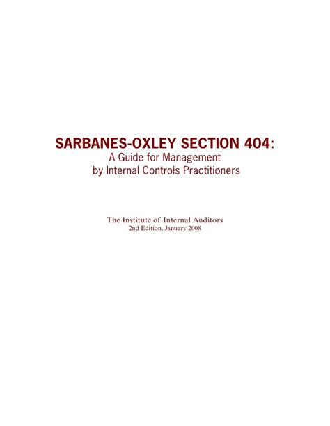 Section 404 Sarbanes Oxley by Sox Section 404 A Guide For Management