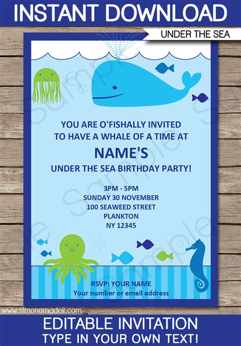 The Sea Birthday Invitation Template Under The Sea Party Invitations Birthday Party