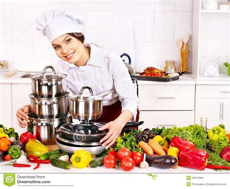 Kitchen Cook by Cooking At Kitchen Stock Photo Image 34070354