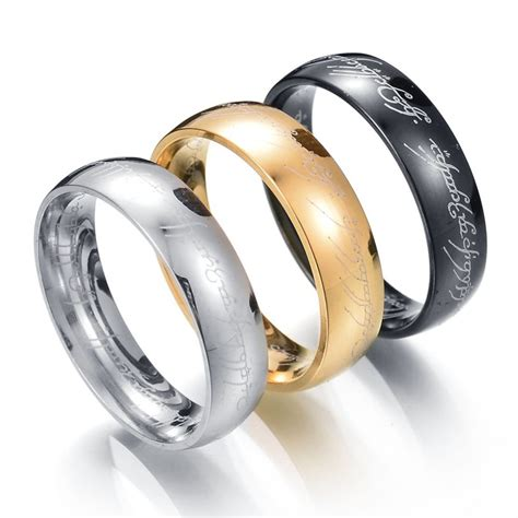 one ring of power gold silver black the lord of rings