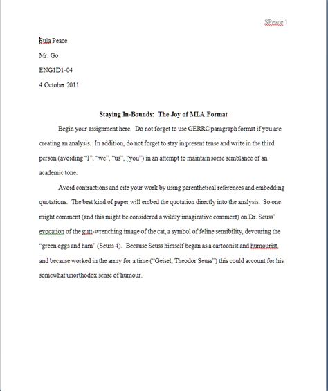 mla format works cited page template