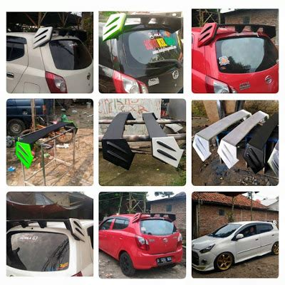 Spoiler Agya Bmi Style custom ayla spoiler modification mobil