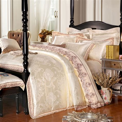 Jacquard Bed Set Aliexpress Buy Luxury Jacquard Beige Pink Blue Satin Bedding Set King Size Duvet