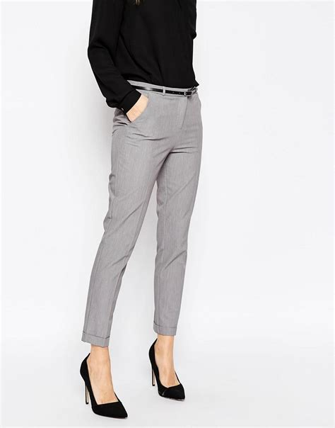 Fashion Trousers Color Slim Design Navy lyst asos cigarette trousers with belt in gray