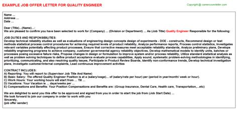 appointment letter for qc engineer quality engineer offer letter sle format