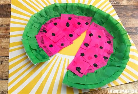 Watermelon Paper Craft - make a watermelon craft from a paper plate the