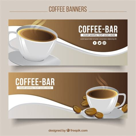 design banner coffee shop wave banners with cup of coffee vector free download