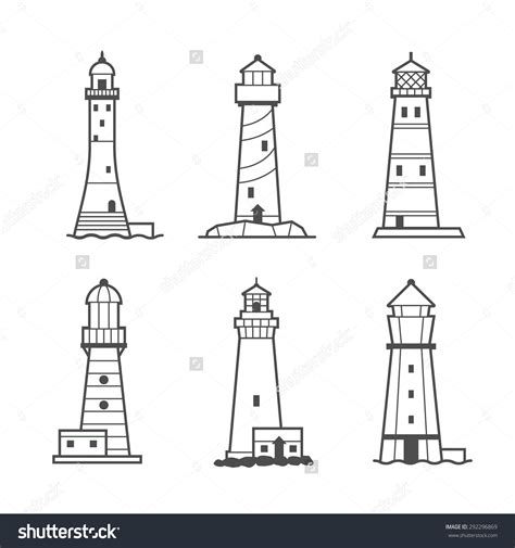 minimalist lighthouse tattoo stock vector simple vector icon or logo set of black and