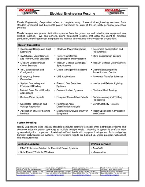 Electrical Engineer Resume by Resume For Electrical Engineer 2017