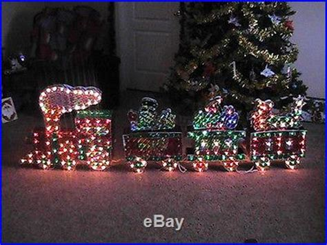christmas outdoor halogrphic train decoration holographic 3d 25 lighted display motion wheel smoke 4 car