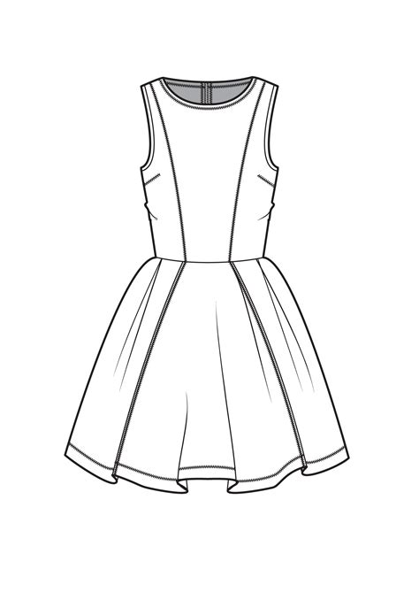 dress design and flat pattern making fit and flare dress fashion flat drawings pinterest