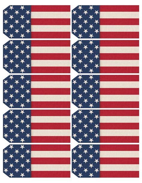 printable us flag printable sheet of 10 patriotic usa flag themed tags