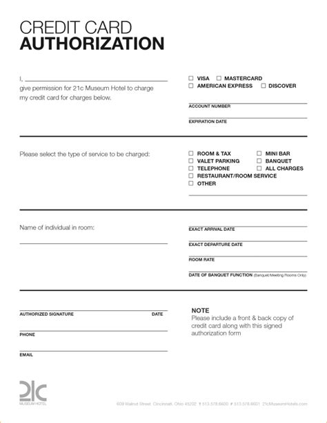 credit card or ach authorization form template word credit card authorization form template free