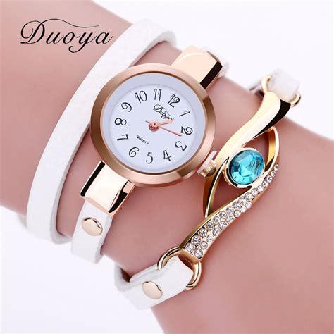 Duoya Brand Luxury Watch Women Gold Fashion Eye Crystal Bracelet Wristwatch Vintage Casual Dress