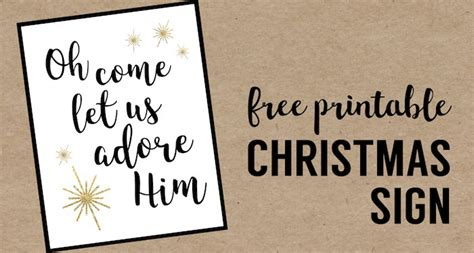 printable religious christmas decorations oh come let us adore him printable christmas decor paper