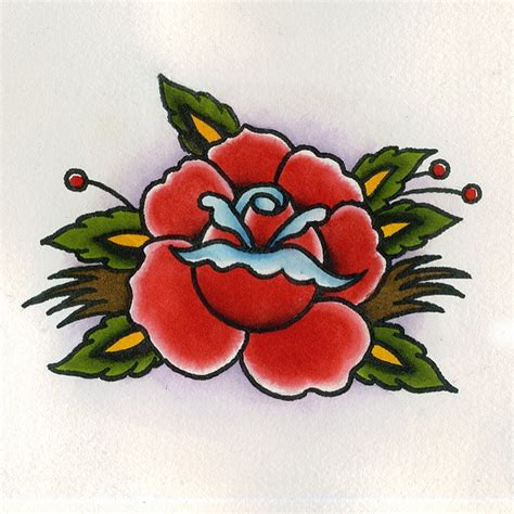 traditional rose tattoo flash by chris hold via flickr