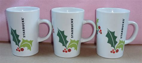 birdsvintageemporium starbucks white open handle set of starbucks holly mistletoe coffee mugs set of 3 on storenvy