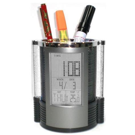 Color Change Desk Clock Temperatur Display With Pen Holder Jk 1898 Bla color change desk clock temperatur display with pen holder