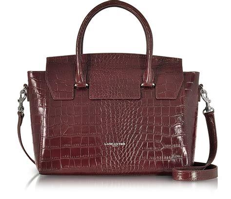 Croco Bag by Lancaster Burgundy Croco Embossed Leather Satchel