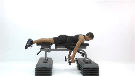 dumbbell rows without bench dumbbell prone row lying on flat bench hammer grip youtube