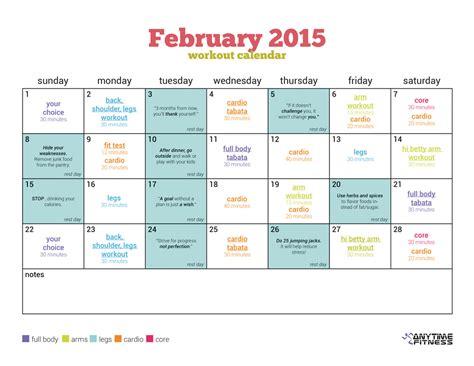 workout calendar february 2015 workout calendar