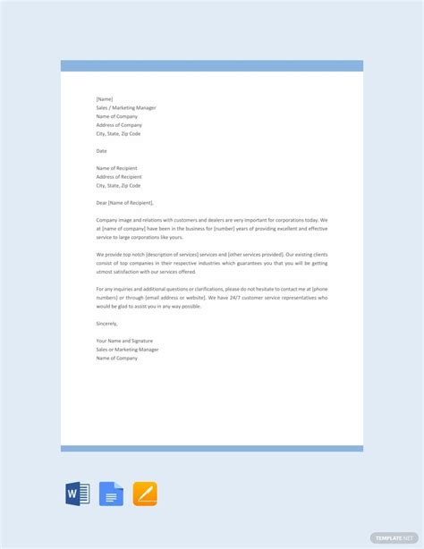 sales letter template promoting service