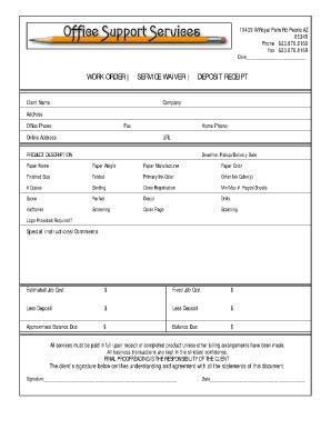 online work order receipts fill online printable